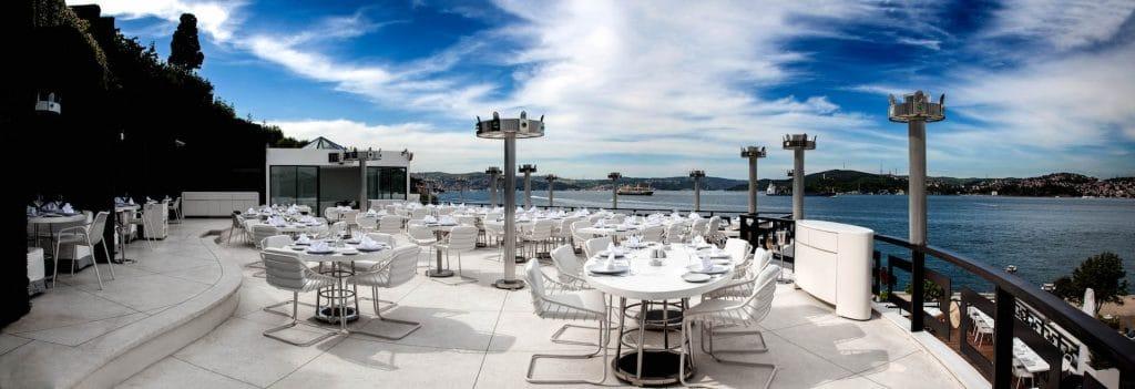 Panoramic view of Kasibeyaz restaurant and Bosphorus